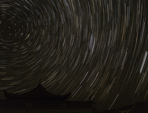 Startrail in de woestijn